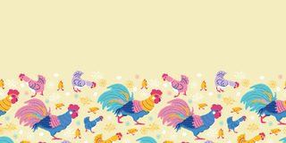 Fun chickens horizontal seamless pattern Stock Images