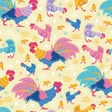 Fun chickens seamless pattern background Stock Photo