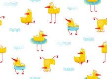 Fun childish Yellow ducky seamless pattern cartoon. Hilarious funny seamless backdrop illustration with duck bird. Vector illustration Stock Photo