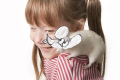 Fun childl and rat in a mask Royalty Free Stock Images