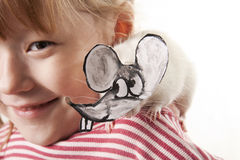 Fun childl and rat in a mask Royalty Free Stock Photography