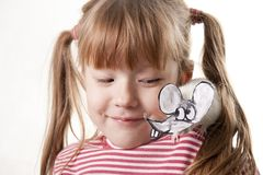 Fun childl and rat in a mask Stock Photos