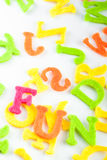 Fun for children. Colorful letters showing the word fun on a white background Stock Photos