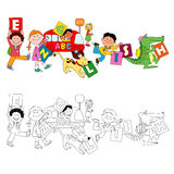 The fun children holding english cards Stock Photo