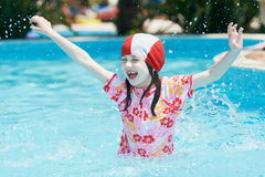 Fun children jumping into pool Royalty Free Stock Images