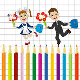 Fun children run to school colored pencils Royalty Free Stock Photography