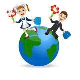 Fun children run to school in globe Stock Photo