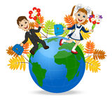 Fun children run to school in globe Stock Photography