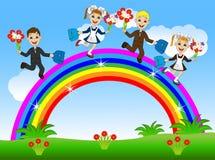 Fun children school children run by the rainbow Royalty Free Stock Image