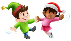 Fun Christmas Dancers. Illustration of two young people in Christmas costume having a dance together Royalty Free Stock Image