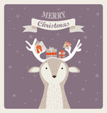 Fun Christmas illustration of deer bearing gifts Stock Photos