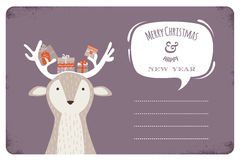 Fun Christmas illustration of deer bearing gifts Stock Images