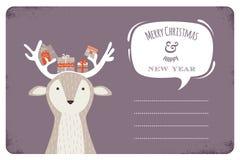 Fun Christmas illustration of deer bearing gifts Stock Images