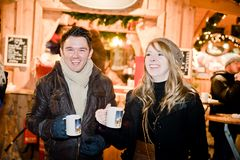 Fun on a Christmas Market Stock Photos