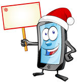 Fun christmas  mobile cartoon with  signboard Royalty Free Stock Image