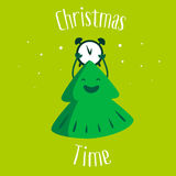 Fun Christmas tree with clock and snow on green background. Christmas time. Greeting card. Vector Stock Photo