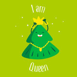 Fun Christmas tree with crown and star on green background. I am Queen. Greeting card. Vector illustration.  Stock Image