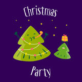 Fun Christmas tree with little tree. Christmas party. Greeting card. Vector Stock Image