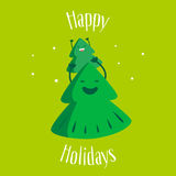 Fun Christmas tree with little tree on green background. Happy Holidays. Greeting card. Vector Stock Image