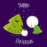 Fun Christmas tree and little tree make a snowman. Happy Christmas. Greeting card. Vector Royalty Free Stock Photography