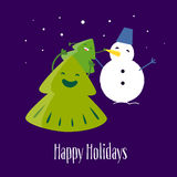 Fun Christmas tree with little tree and snowman. Happy Holidays.  Greeting card. Vector Stock Image