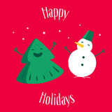 Fun Christmas tree with snowman on red background. Happy Holidays.  Greeting card. Vector illustration.  Stock Images