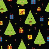 Fun Christmas trees with faces on black background stock illustration