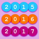2015-2017 fun circle sign. Fun year 2015-2017 symbols or calendar signs, colorful circles with shadows Stock Images