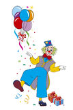 Fun Clown with balloons and gifts. Clown with balloons and gifts on white backgrounds Royalty Free Stock Photography