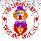 Fun clowns party invitation. Funny happy laughing clown with hat and nose vector illustration Royalty Free Stock Images