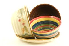 Fun with colored bowls Stock Images