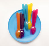 Fun colored dishes for holidays and picnics Stock Images