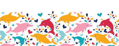 Fun colorful dolphins horizontal seamless pattern Stock Image
