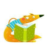Fun colorful fox reading kids book. Stock Photos