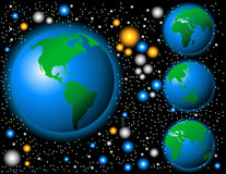 Fun Colorful Globes in Space Stock Images