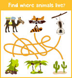 Fun and colorful puzzle game for children's development find where a deer, striped Chipmunk and fish. Training mazes for preschool Royalty Free Stock Photos