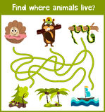 Fun and colorful puzzle game for children's development find where a deer, striped Chipmunk and fish. Training mazes for preschool Stock Photo