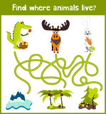Fun and colorful puzzle game for children's development find where a deer, striped Chipmunk and fish. Training mazes for preschool Stock Image