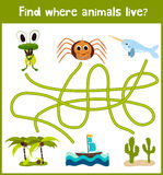Fun and colorful puzzle game for children's development find where a deer, striped Chipmunk and fish. Training mazes for preschool Royalty Free Stock Images
