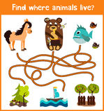 Fun and colorful puzzle game for children's development find where a deer, striped Chipmunk and fish. Training mazes for preschool Stock Images