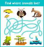 Fun and colorful puzzle game for children's development find where a deer, striped Chipmunk and fish. Training mazes for preschool Stock Photos