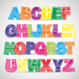 Fun colorful scratched  font Stock Image