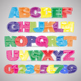 Fun colorful scratched vector font Royalty Free Stock Photos
