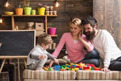 Free Fun Concept. Learning Is Fun. Family Have Fun With Construction Set. Real Fun Royalty Free Stock Photo - 123298405