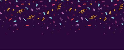 Fun confetti purple horizontal seamless border. Great for a birthday party or an event celebration invitation or decor. Surface pattern design Royalty Free Stock Image