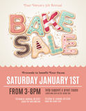 Fun cookie bake sale flyer template. Hand drawn type that says Bake Sale in the shape of delicious and colorful cookies on a flyer, brochure, or poster template vector illustration