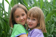 Fun in the corn field. 2 girls playing in a corn field Stock Images