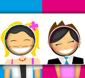 Fun couple illustration stock images
