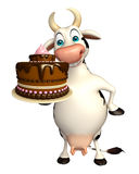 Fun Cow cartoon character with cake. 3d rendered illustration of Cow cartoon character with cake Stock Photos