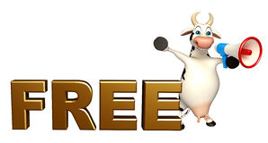 Fun Cow cartoon character with free sign and loudspeaker Royalty Free Stock Images